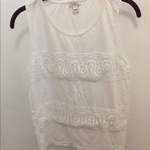 J Crew White Cotton Tank with Lace Detailing